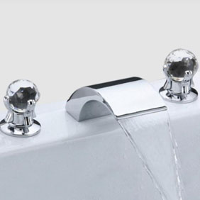 Contemporary Widespread Bathroom Sink Faucet Crystal Handles T6013