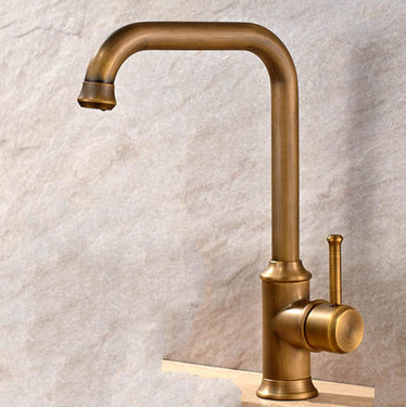Antique Brass Finish Single Handle Swivel Kitchen Faucet T02001