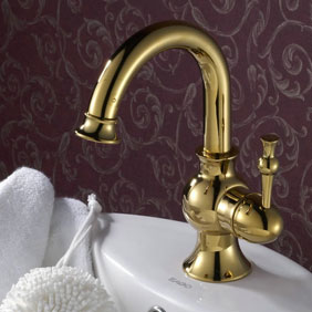 Ti-PVD Finish Solid Brass Bathroom Sink Faucet T0430G
