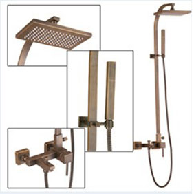 Wall Mount Antique Brass Shower Faucet Set TSA012