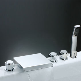Waterfall Tub Faucet with Hand Shower (Chrome Finish) T7017