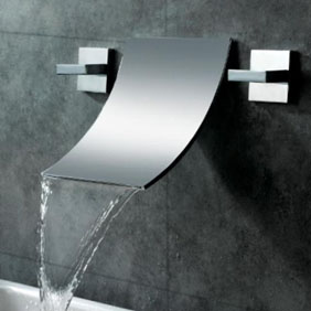 Waterfall Widespread Contemporary Bathroom Sink Faucet (Chrome Finish) T6014A